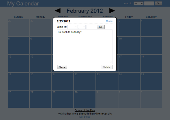 My Calendar Screenshot